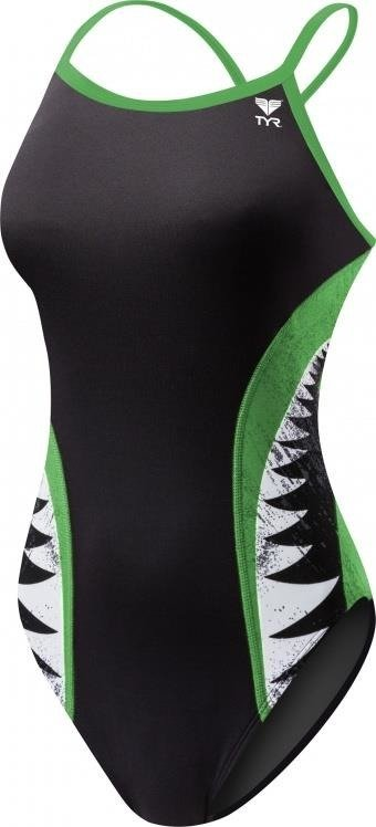 Tyr Shark Bite Diamondfit - Women's training outfit (black and green)